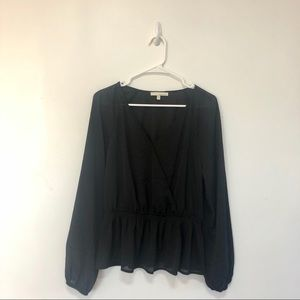 Cross front long sleeve top